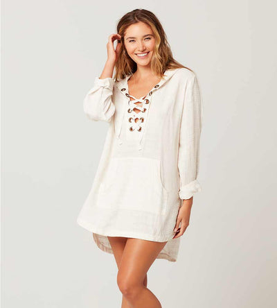 CREAM LOVE LETTERS TUNIC BY LSPACE
