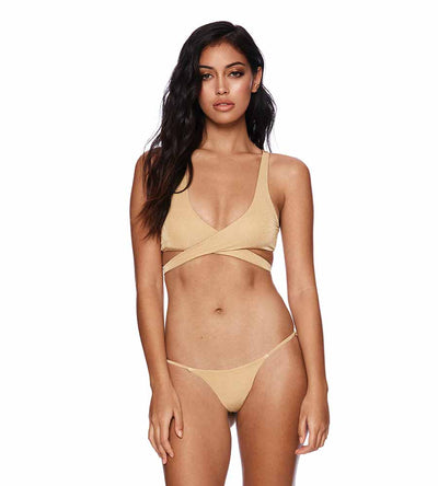 CANNES SKYLAR WRAP TOP BEACH BUNNY B19105T8-GOLD