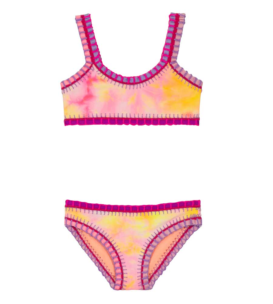 DEL MAR TIE DYE SPORTY RAINBOW EMBROIDERED GIRLS BIKINI PQ SWIM CNA-835B