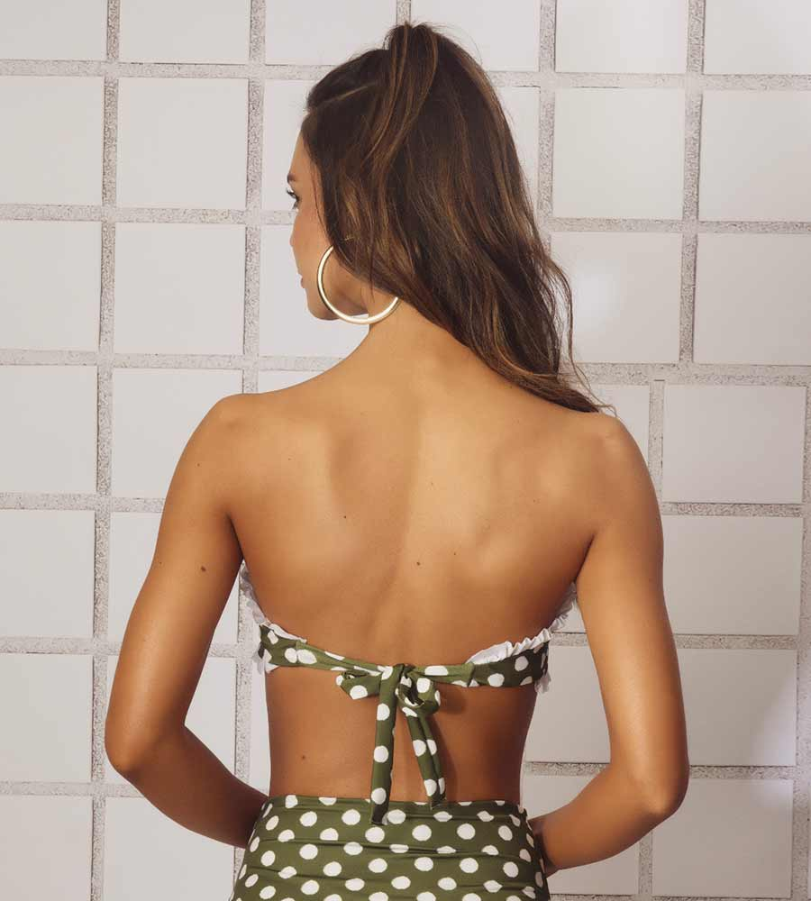 6332f63909 OLIVE GREEN VINTAGE BATHROOM BIKINI TOP ANCORA F179T