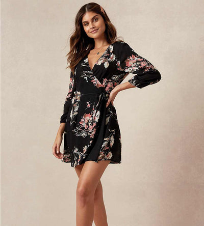 FLORAL FEELING BLACK BRINLEY DRESS BEACH BUNNY S202D1-BKCM