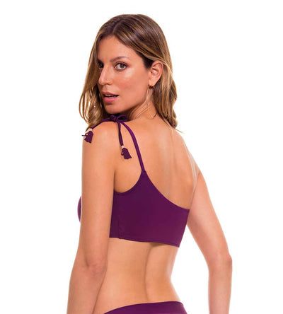 FOLIAGE WINE ONE SHOULDER BIKINI TOP MILONGA FOL604
