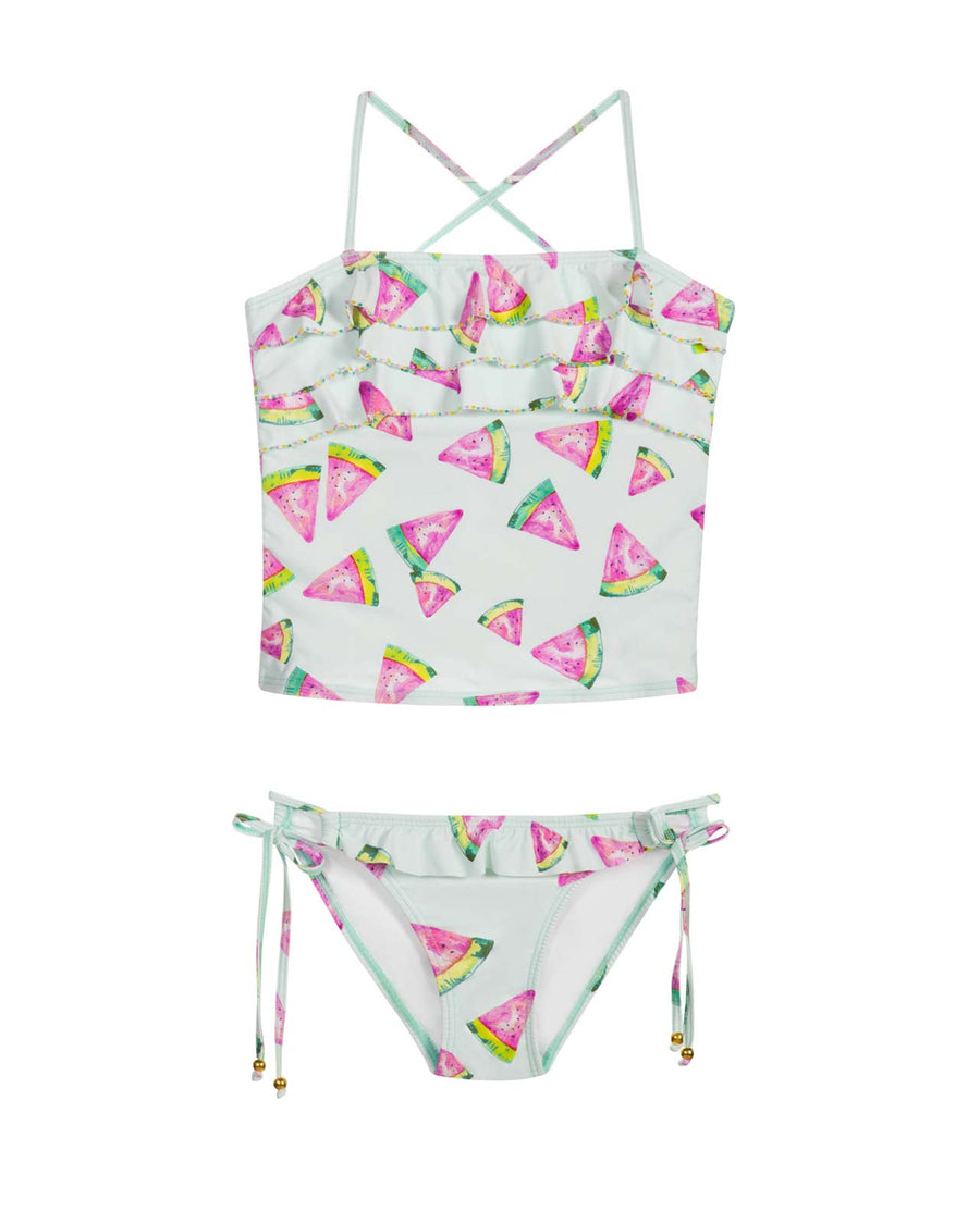 FRESCA EMBROIDERED RUFFLE TANKINI BY PILYQ