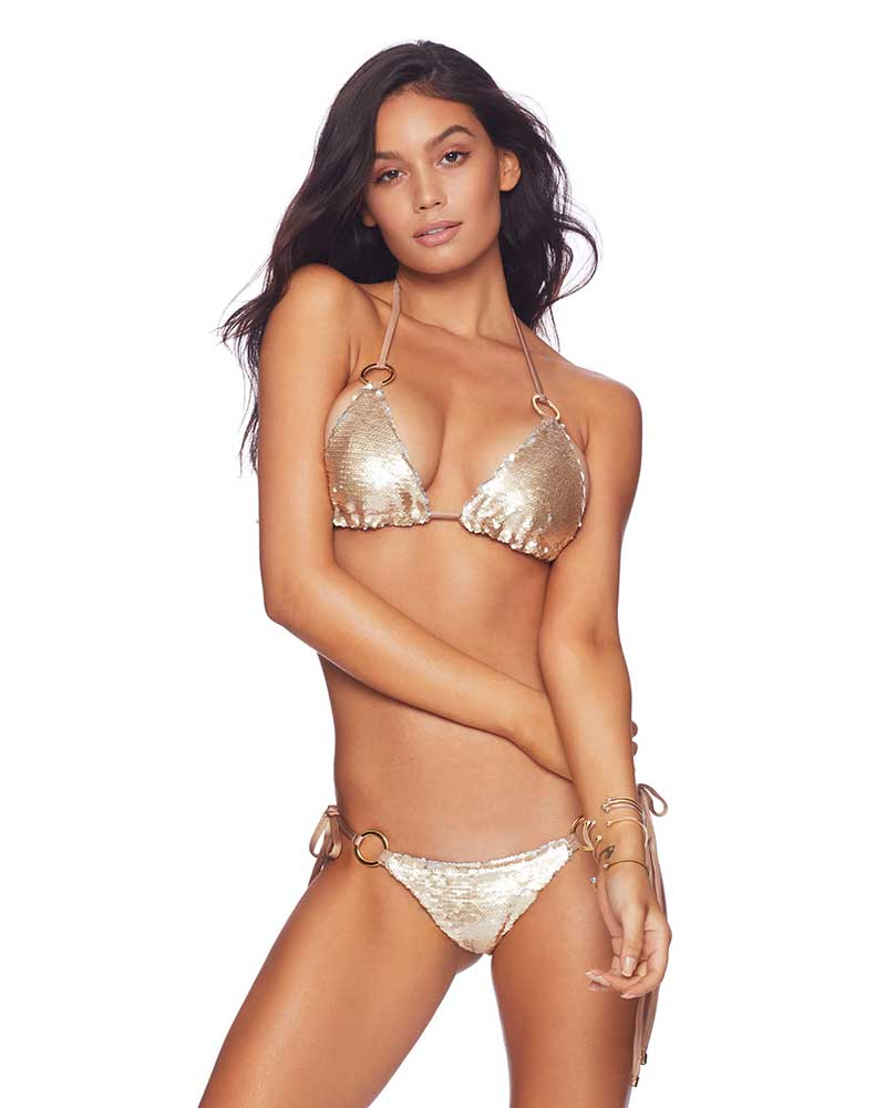 SIREN'S SONG GOLD SKIMPY TIE SIDE BOTTOM BY BEACH BUNNY