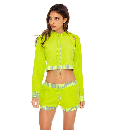 GLOW BABY GLOW LIME HOODIE CROPPED JACKET LULI FAMA L643G07-046