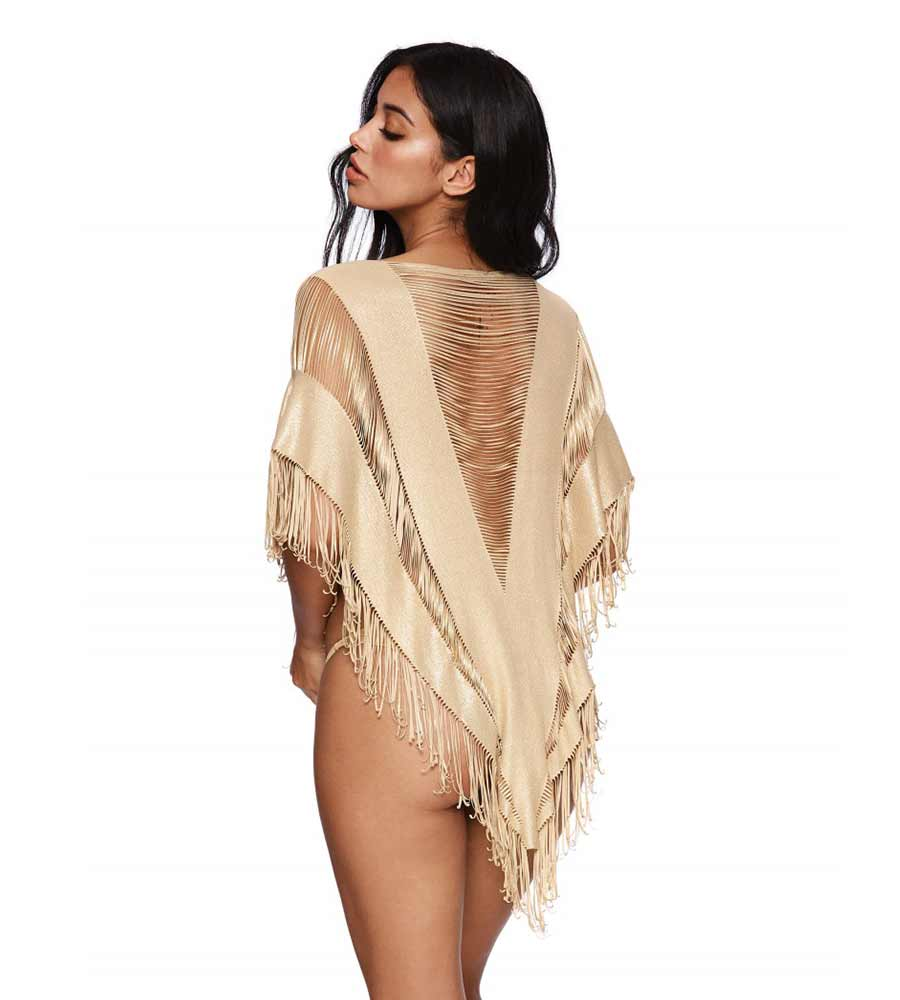 GOLD INDIAN SUMMER PONCHO BY BEACH BUNNY