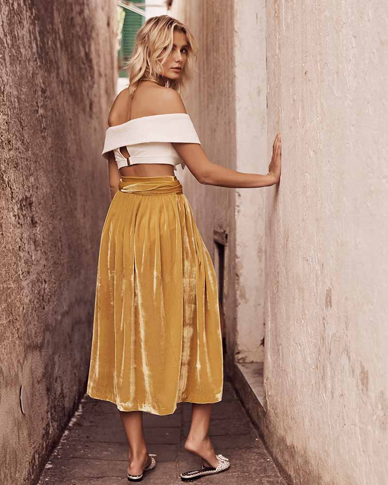 GOLD MANET VELVET WRAP SKIRT BY AMAIO