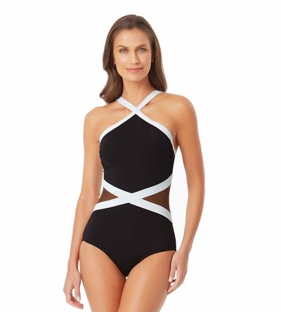 HOT MESH BLACK HIGH NECK MESH ONE PIECE ANNE COLE 21MO02875-BKWH