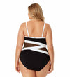 HOT MESH BLACK PLUS ASYMMETRIC MESH ONE PIECE ANNE COLE 21PO03975-BKWH