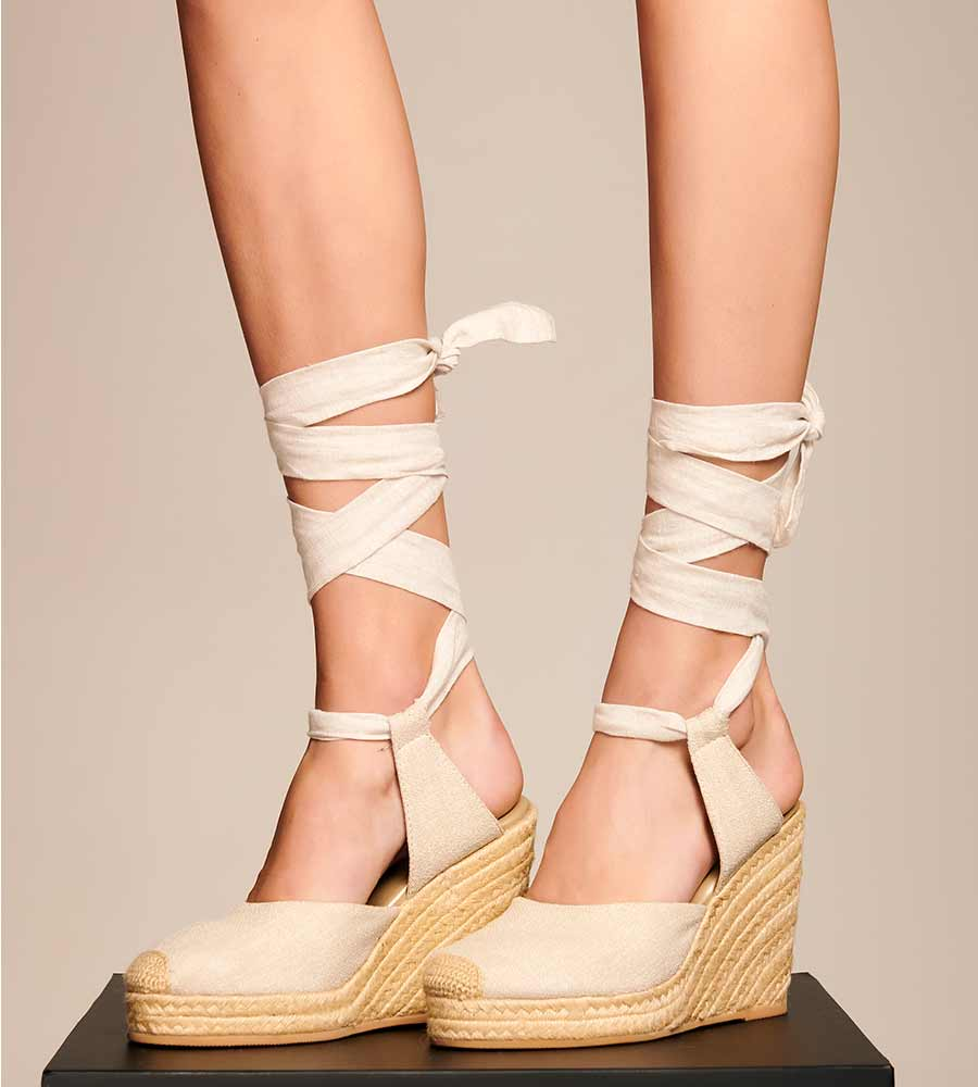 IVORY LACE UP WEDGE ESPADRILLE TOUCHE 0S06M02