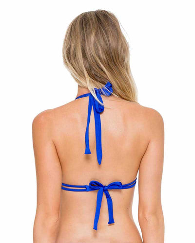 ELECTRIC BLUE COSITA BUENA TRIANGLE HALTER TOP LULI FAMA L17673-340