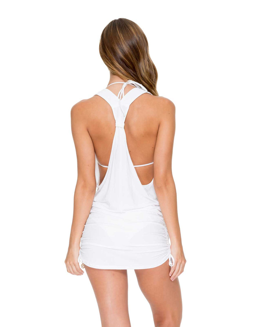 WHITE COSITA BUENA T-BACK MINI DRESS BY LULI FAMA