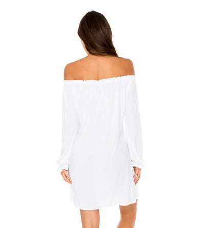 WHITE COSITA BUENA BELL SLEEVE SHIFT DRESS LULI FAMA L177N77-002