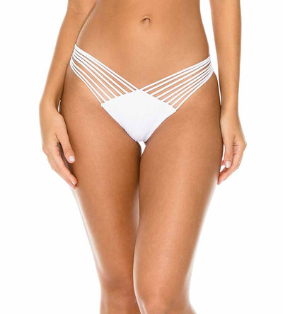 WHITE COSTA DEL SOL STRAPPY BRAZILIAN RUCHED BOTTOM LULI FAMA L50020-002