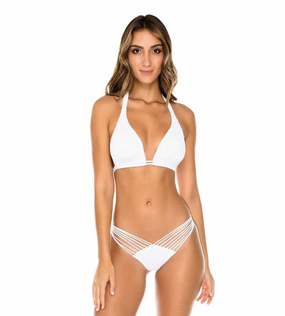 WHITE COSTA DEL SOL TRIANGLE HALTER TOP LULI FAMA L50073P-002
