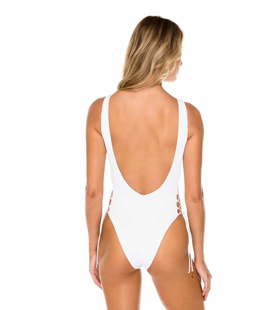 WHITE COSTA DEL SOL INTERLACED ONE PIECE BODYSUIT BY LULI FAMA