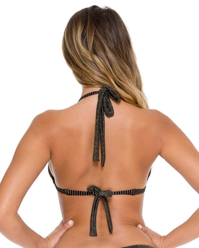 BLACK HAVANA NIGHTS TRIANGLE HALTER TOP LULI FAMA L53973-001