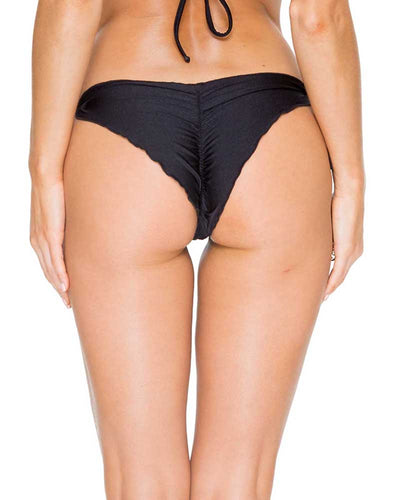 BLACK EL CARNAVAL SEAMLESS RUCHED BRAZILIAN TIE SIDE BOTTOM LULI FAMA L54302P-001
