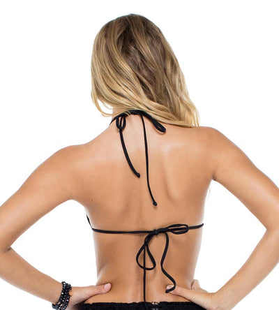 BLACK MAMBO LACE UP GROMMET MOLDED PUSH UP TOP LULI FAMA L561435-001