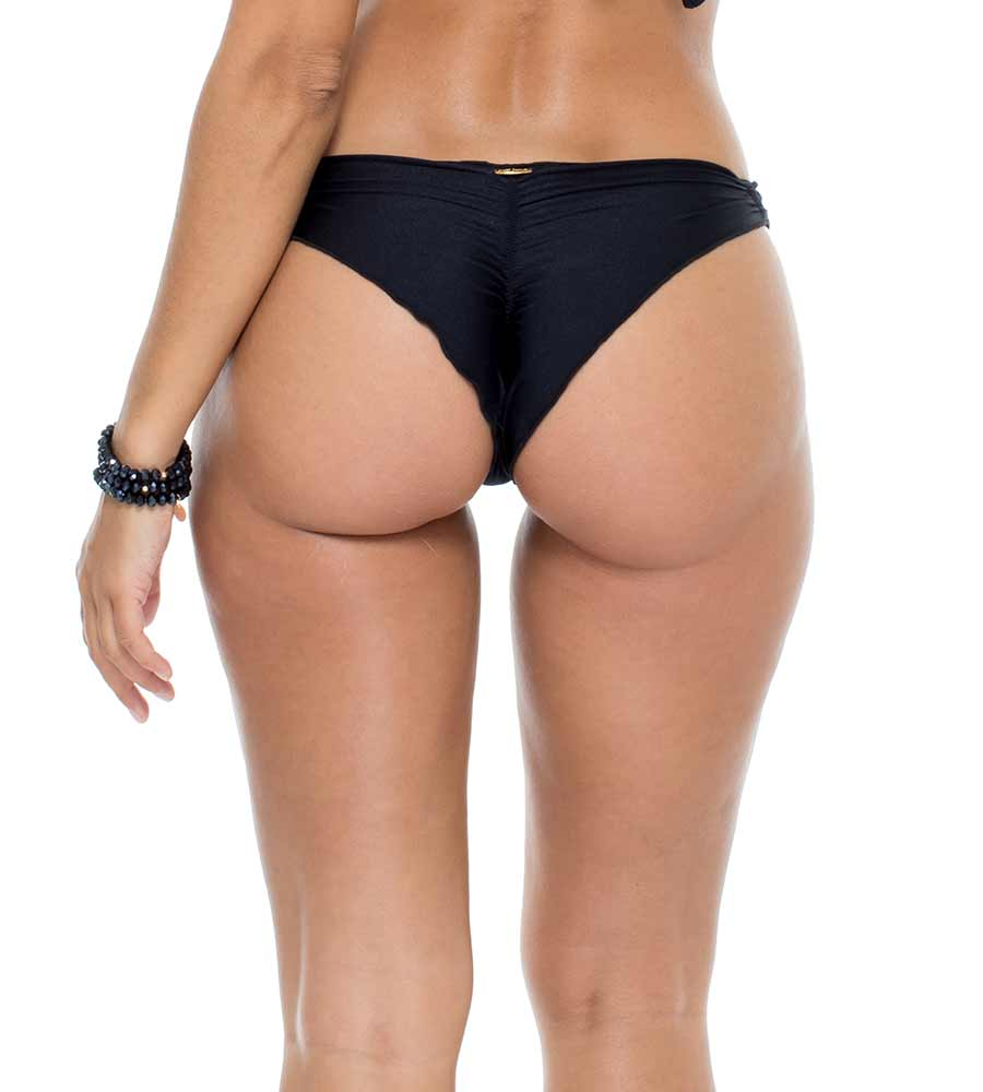 BLACK MAMBO GROMMET STRAPPY BRAZILIAN RUCHED BACK BOTTOM BY LULI FAMA