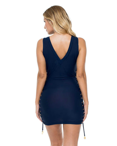 MARINO MAMBO LACE UP GROMMET BODYCON DRESS LULI FAMA L561A55-446