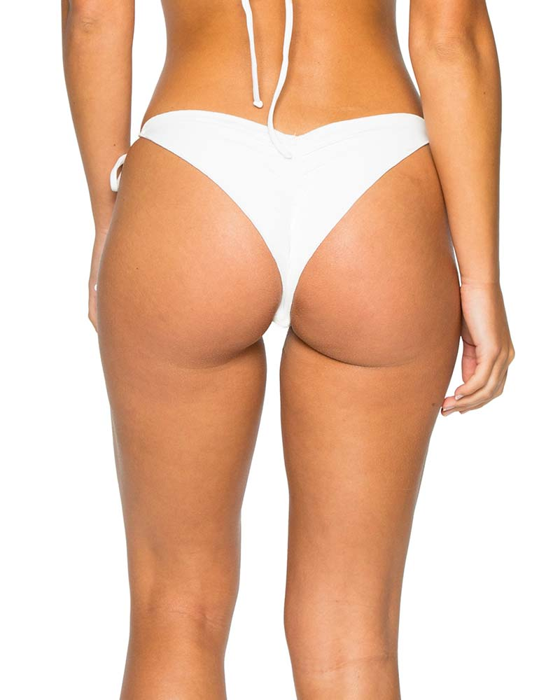 OFF WHITE LA CABANA RUCHED BRAZILIAN TIE SIDE BOTTOM BY LULI FAMA