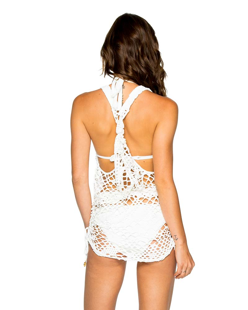 OFF WHITE LA CABANA T-BACK MINI DRESS BY LULI FAMA