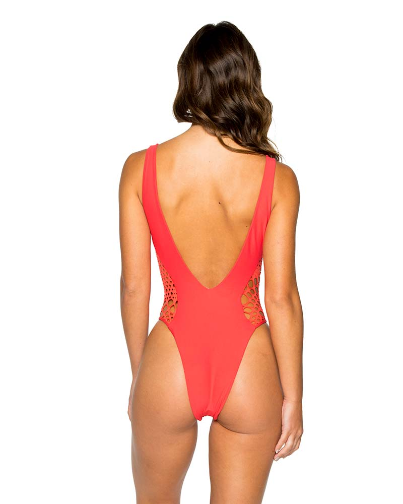 GIRL ON FIRE LA CABANA HIGH LEG ONE PIECE BY LULI FAMA
