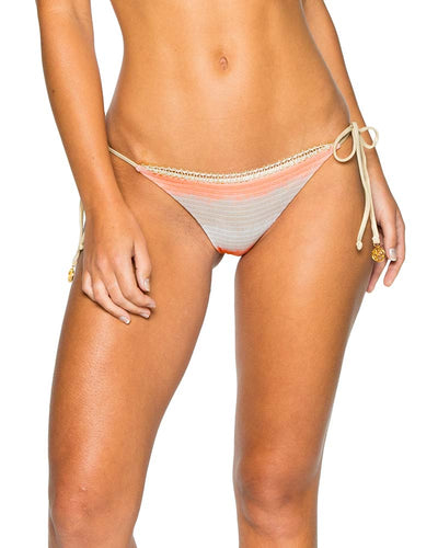 LOS FLAMENCOS SEAMLESS RUCHED BRAZILIAN TIE SIDE BOTTOM LULI FAMA L57702P-111