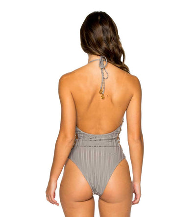 GREY TURI TURAI RING HIGH LEG ONE PIECE LULI FAMA L581N35-023