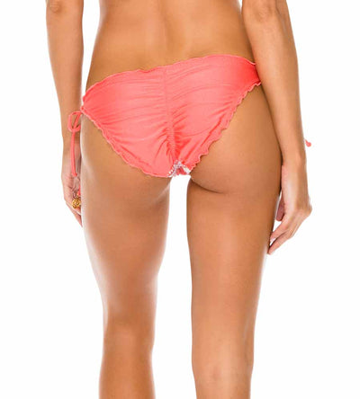 CORAL AMOR Y MIEL SEAMLESS RUCHED FULL TIE SIDE BOTTOM LULI FAMA L5882FW-067