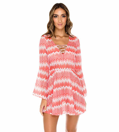 CORAL AMOR Y MIEL LACED UP BELL SLEEVE DRESS LULI FAMA L588V72-067