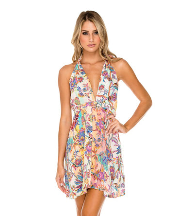 ALCAZAR PLUNGE HALTER MINI DRESS LULI FAMA L591S22-111