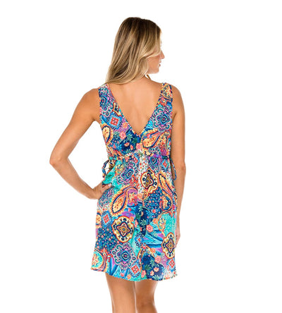 WAPISIMA V NECK SHORT DRESS LULI FAMA L593E71-111