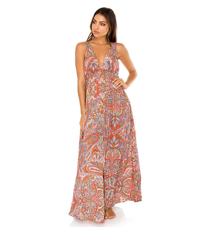 ANDALUZ CRYSTAL V NECK LONG DRESS LULI FAMA L603LE7-111