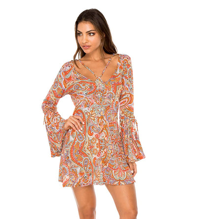 ANDALUZ V NECK BELL SLEEVE SHORT DRESS LULI FAMA L603M87-111
