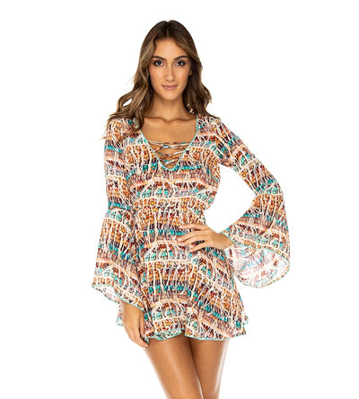 ALMERIA LACED UP BELL SLEEVE DRESS LULI FAMA L606V72-111