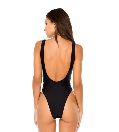 BLACK BULERIA INTERLACED ONE PIECE BODYSUIT LULI FAMA L611A38-001