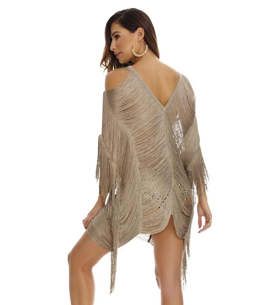 LEOPARD SHORT FRINGE COVER UP BY MILONGA