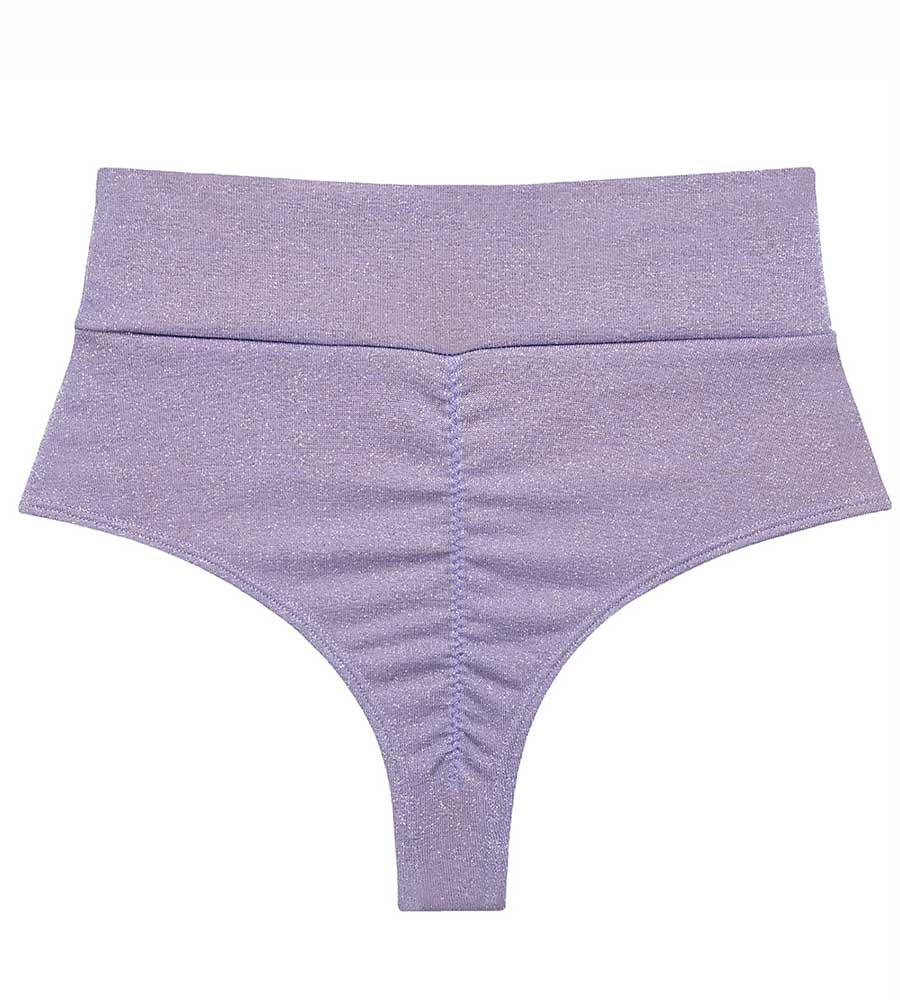 LILAC SPARKLE HIGH-RISE BIKINI BOTTOM BY MONTCE