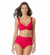 LIVE IN COLOR BERRY UNDERWIRE TWIST FRONT BIKINI TOP ANNE COLE 21MT10501-BERY