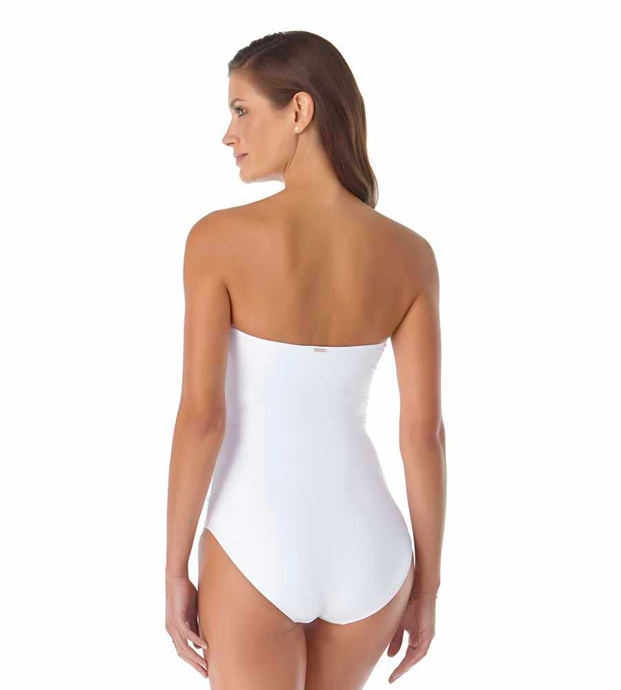 LIVE IN COLOR WHITE TWIST FRONT SHIRRED BANDEAU ONE PIECE 2021 BY ANNE COLE