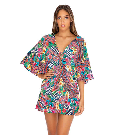 LULI TRIBE LACED UP SHORT DRESS LULI FAMA L663L91-111