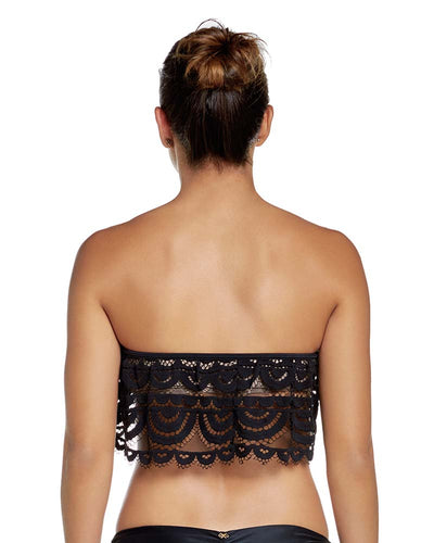 MIDNIGHT LACE FLUTTER BANDEAU TOP PILYQ MID-165B