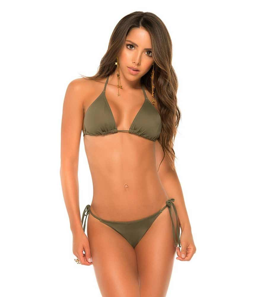 MILITARY GREEN COLOR MIX TANNING BIKINI BY PHAX