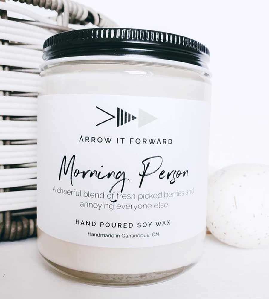 MORNING PERSON 8OZ SOY CANDLE ARROW IT FORWARD AIT-004