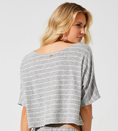 NETFLIX & CHILL DARK GREY PEYTON CROP TOP BEACH BUNNY L1202T7-DKGY