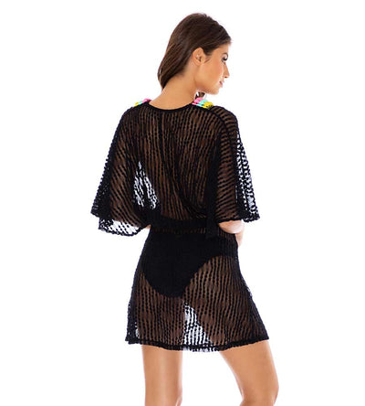 NIGHT LIGHTS POMPOM TRIM SHORT DRESS LULI FAMA L665L92-001