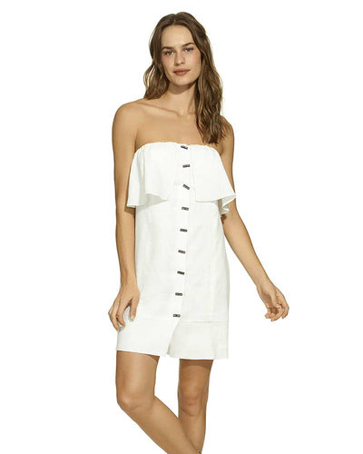 OFF WHITE STRAPLESS BUTTON DRESS VIX 358-807-003