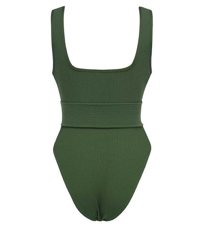 OLIVE MICRO SCRUNCH ALLIE BELTED ONE PIECE MONTCE 21MTS09